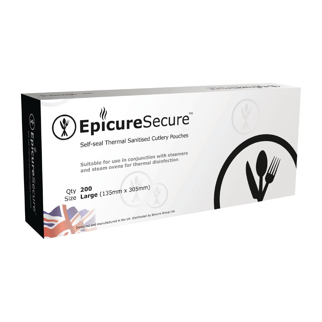 EpicureSecure Sealable Thermal Sanitised Cutlery Pouches Large (Pack of 200) Pack of 200